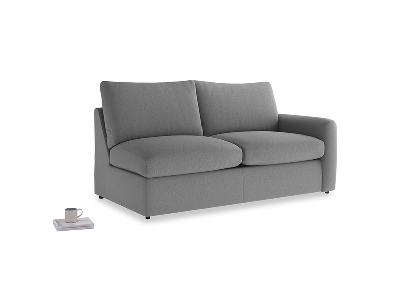 Chatnap Sofa Bed in Gun Metal brushed cotton with a right arm
