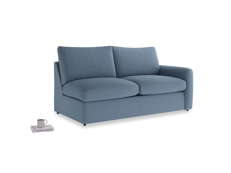 Chatnap Sofa Bed in Nordic blue brushed cotton with a right arm