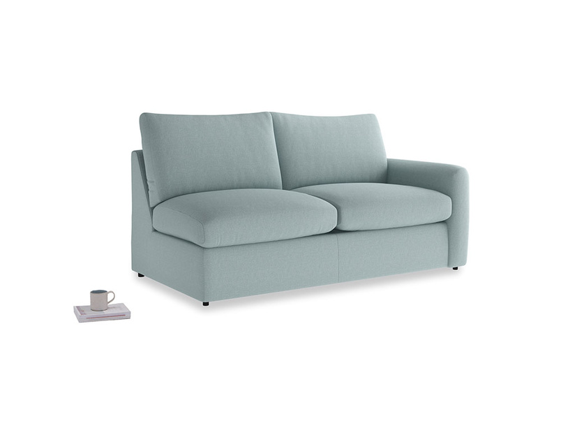Chatnap Sofa Bed in Smoke blue brushed cotton with a right arm
