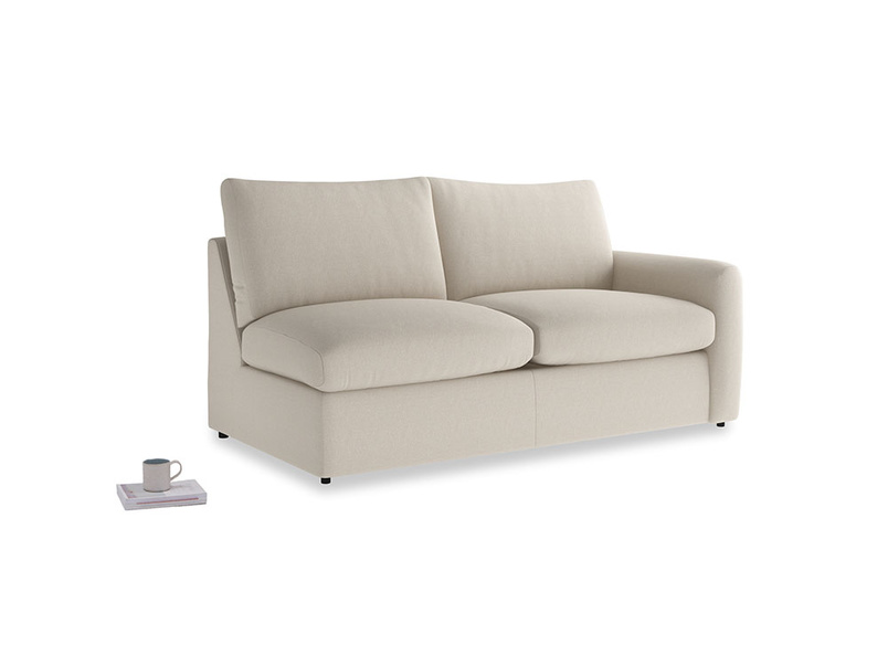 Chatnap Sofa Bed in Buff brushed cotton with a right arm