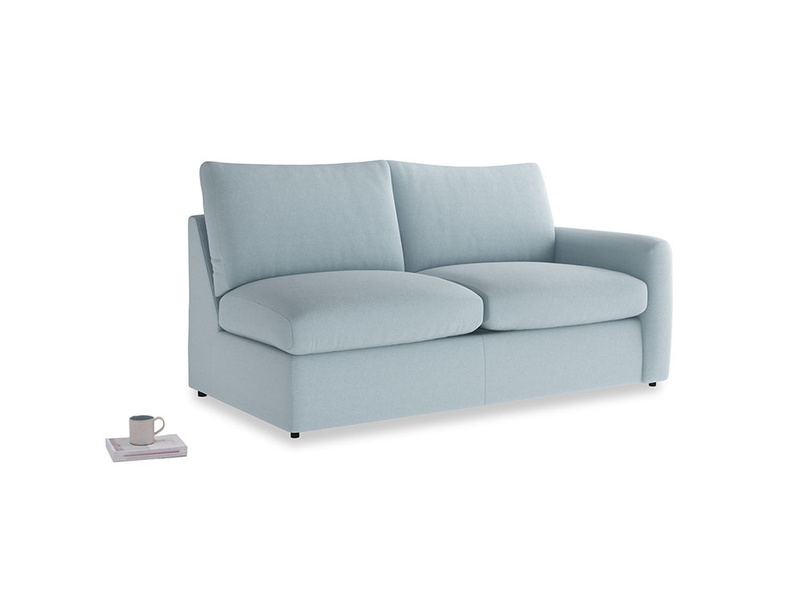 Chatnap Sofa Bed in Soothing blue washed cotton linen with a right arm