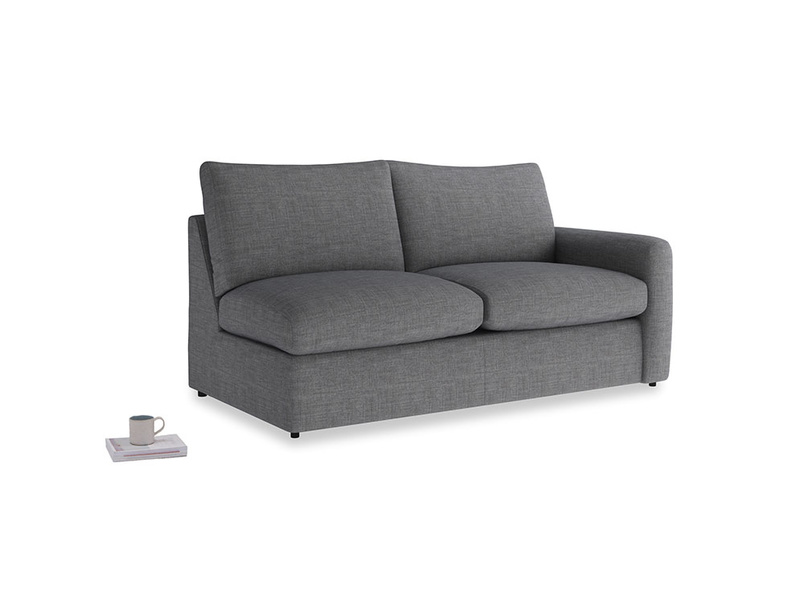 Chatnap Sofa Bed in Strong grey clever woolly fabric with a right arm