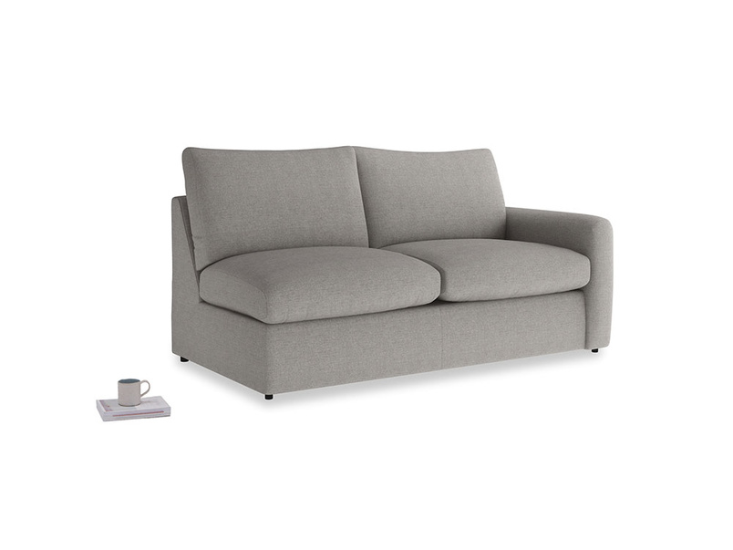 Chatnap Sofa Bed in Marl grey clever woolly fabric with a right arm