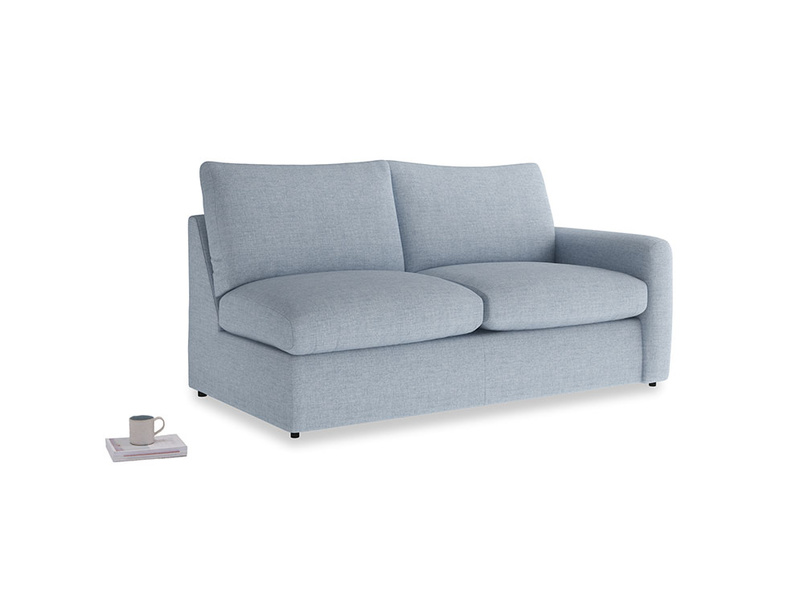 Chatnap Sofa Bed in Frost clever woolly fabric with a right arm