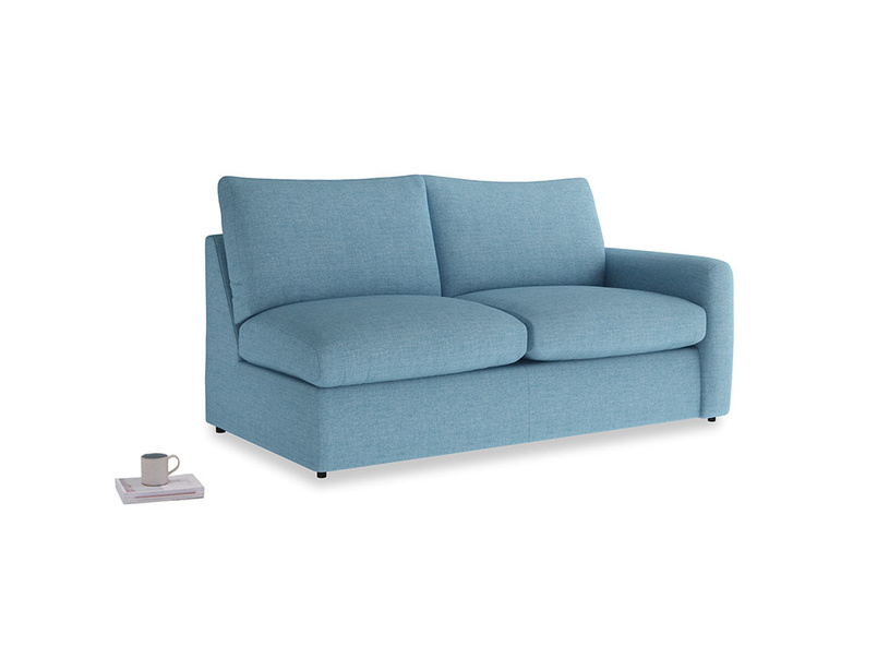 Chatnap Sofa Bed in Moroccan blue clever woolly fabric with a right arm