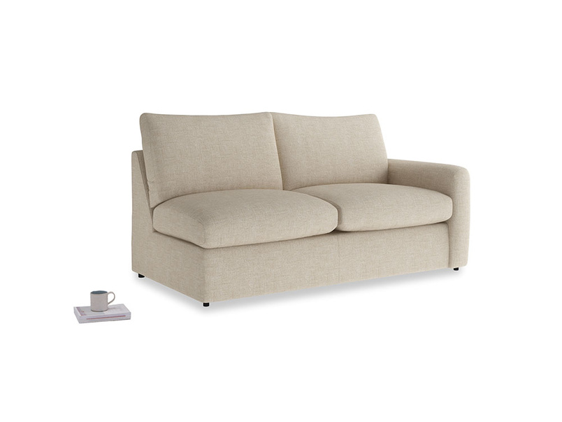 Chatnap Sofa Bed in Flagstone clever woolly fabric with a right arm