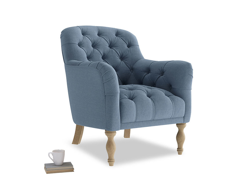 Reader Armchair in Nordic blue brushed cotton