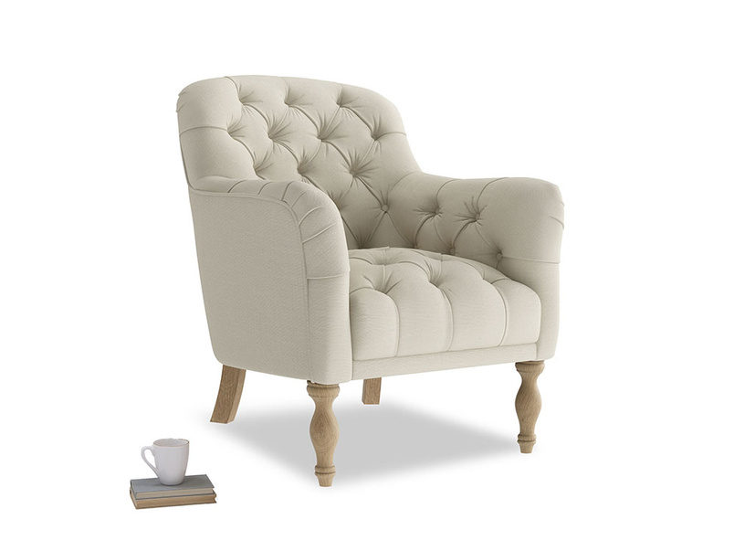 Reader Armchair in Pale rope clever linen
