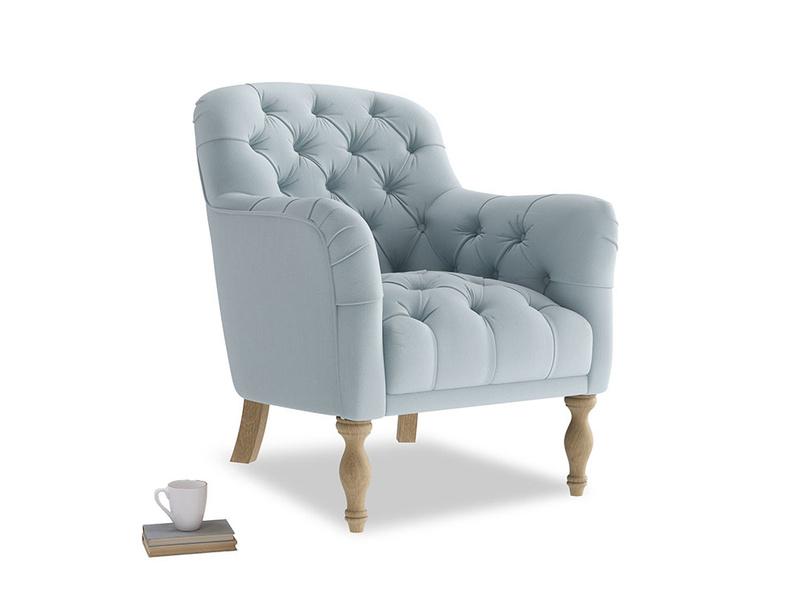 Reader Armchair in Scandi blue clever cotton