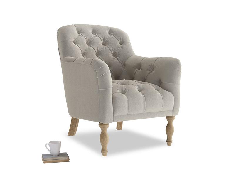 Reader Armchair in Smoky Grey clever velvet