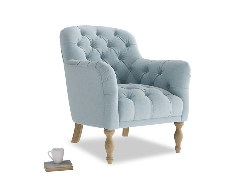 Reader Armchair in Soothing blue washed cotton linen