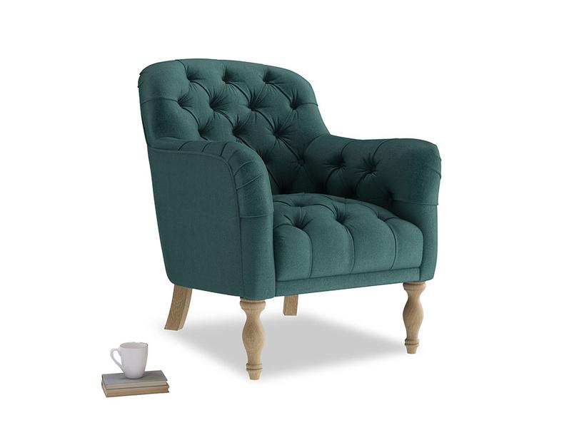 Reader Armchair in Timeless teal vintage velvet