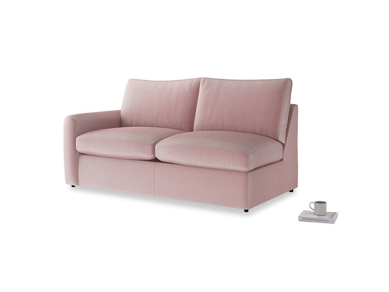 Chatnap Sofa Bed in Chalky Pink vintage velvet with a left arm