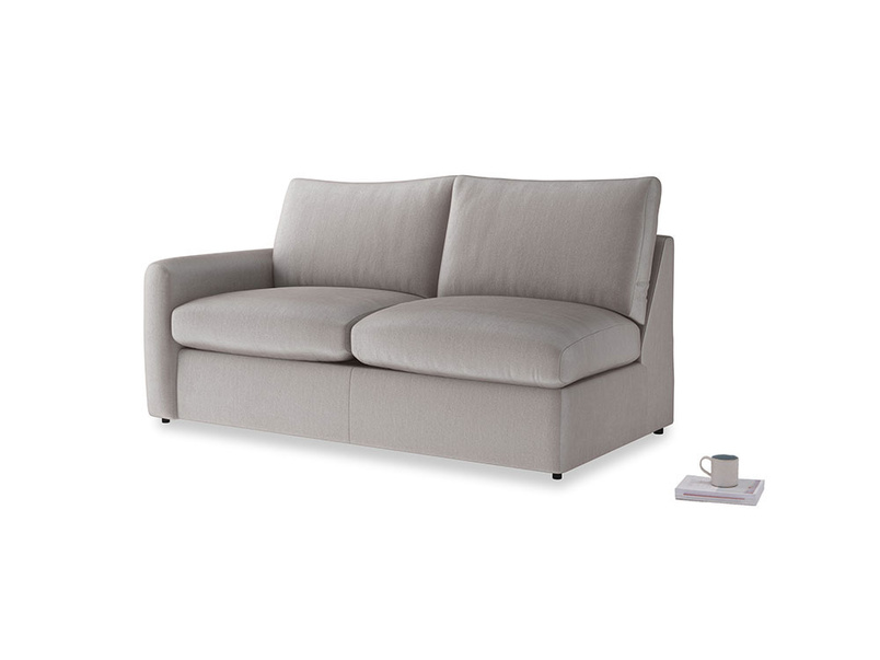 Chatnap Sofa Bed in Soothing grey vintage velvet with a left arm