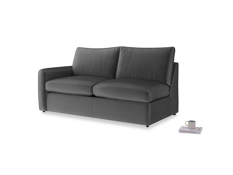 Chatnap Sofa Bed in Scuttle grey vintage velvet with a left arm