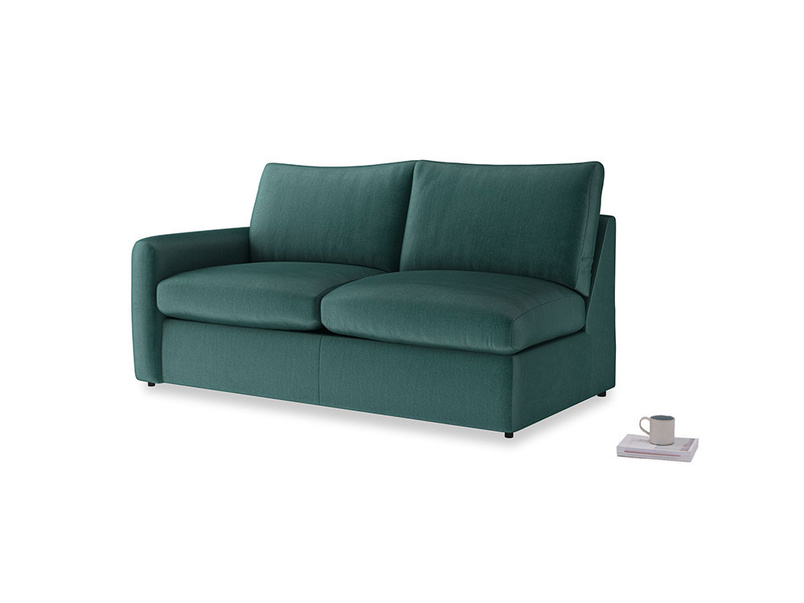 Chatnap Sofa Bed in Timeless teal vintage velvet with a left arm