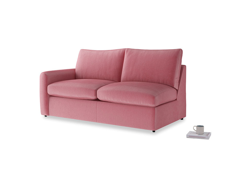 Chatnap Sofa Bed in Blushed pink vintage velvet with a left arm