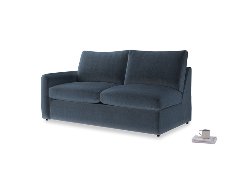 Chatnap Sofa Bed in Liquorice Blue clever velvet with a left arm