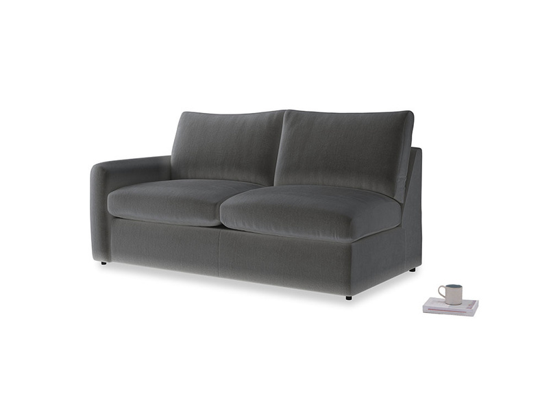 Chatnap Sofa Bed in Steel clever velvet with a left arm