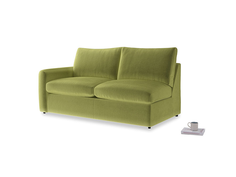 Chatnap Sofa Bed in Olive plush velvet with a left arm