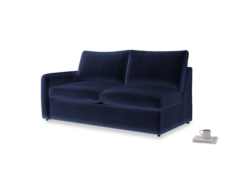 Chatnap Sofa Bed in Midnight plush velvet with a left arm