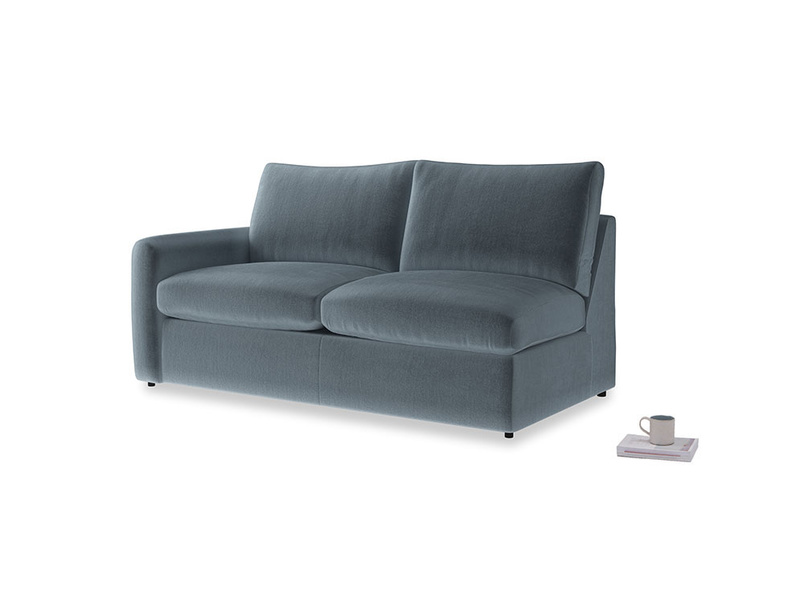 Chatnap Sofa Bed in Mermaid plush velvet with a left arm