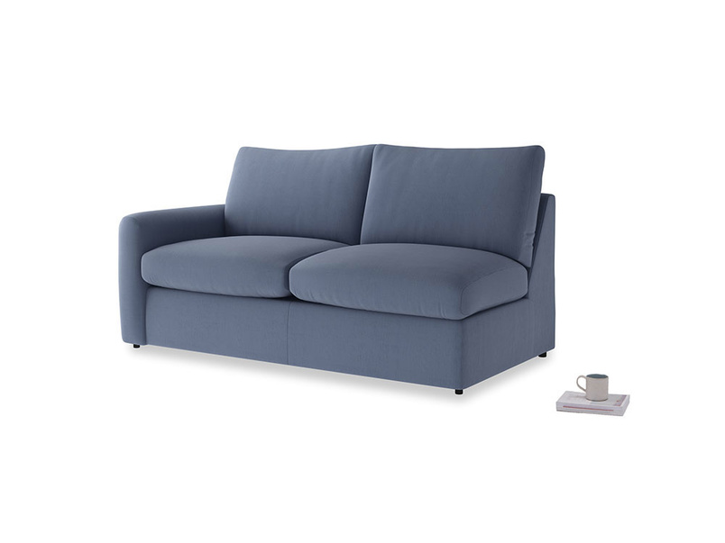 Chatnap Sofa Bed in Breton blue clever cotton with a left arm