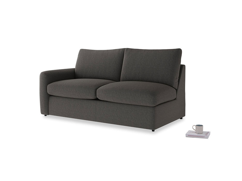 Chatnap Sofa Bed in Old Charcoal brushed cotton with a left arm
