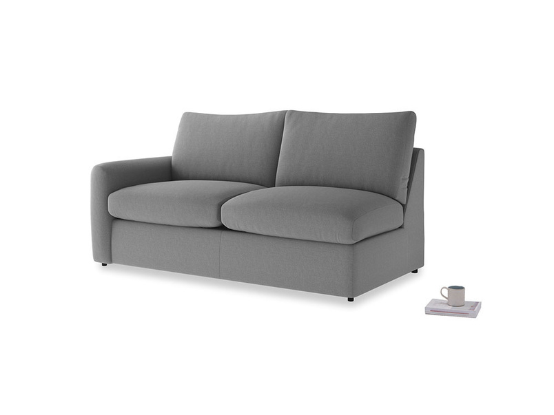 Chatnap Sofa Bed in Gun Metal brushed cotton with a left arm