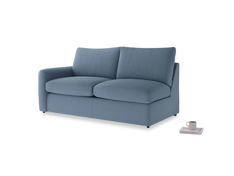 Chatnap Sofa Bed in Nordic blue brushed cotton with a left arm