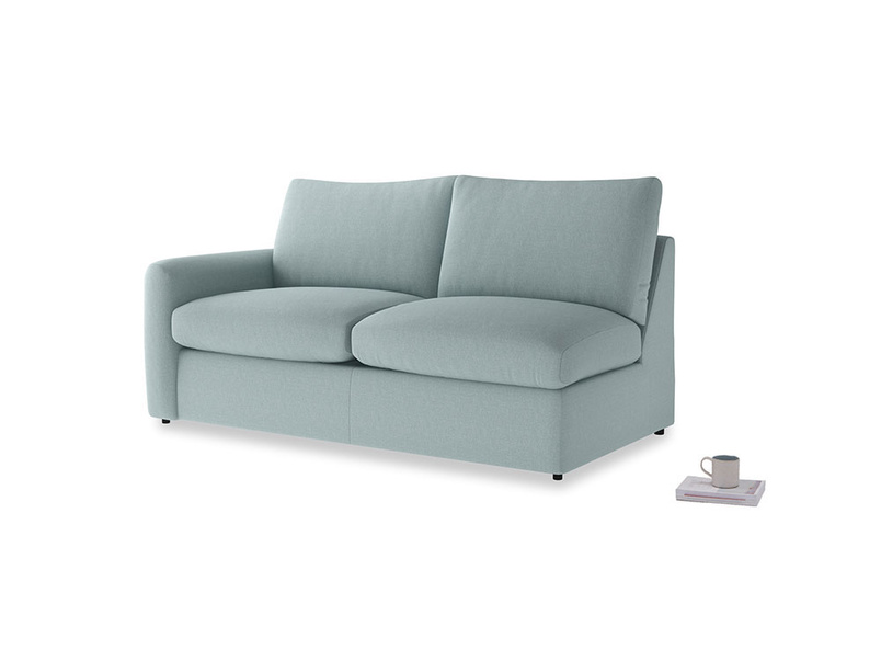 Chatnap Sofa Bed in Smoke blue brushed cotton with a left arm