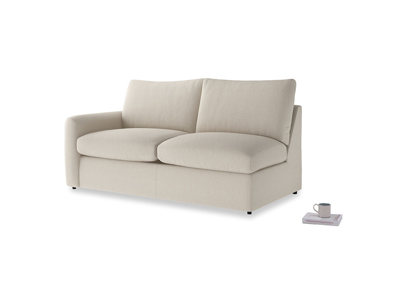 Chatnap Sofa Bed in Buff brushed cotton with a left arm