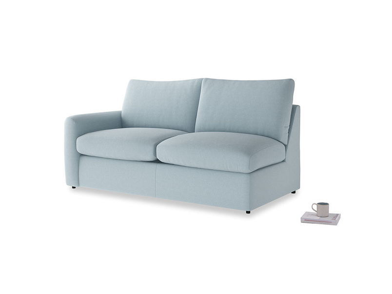 Chatnap Sofa Bed in Soothing blue washed cotton linen with a left arm