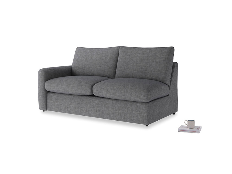 Chatnap Sofa Bed in Strong grey clever woolly fabric with a left arm