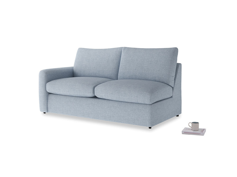 Chatnap Sofa Bed in Frost clever woolly fabric with a left arm