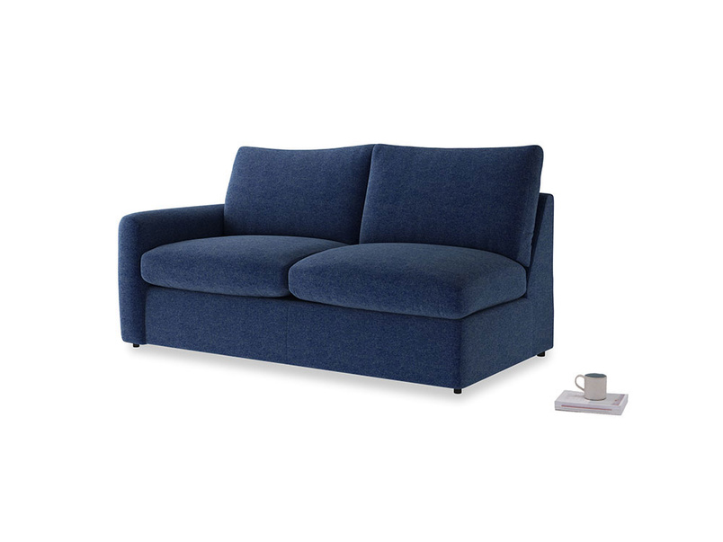Chatnap Sofa Bed in Ink Blue wool with a left arm
