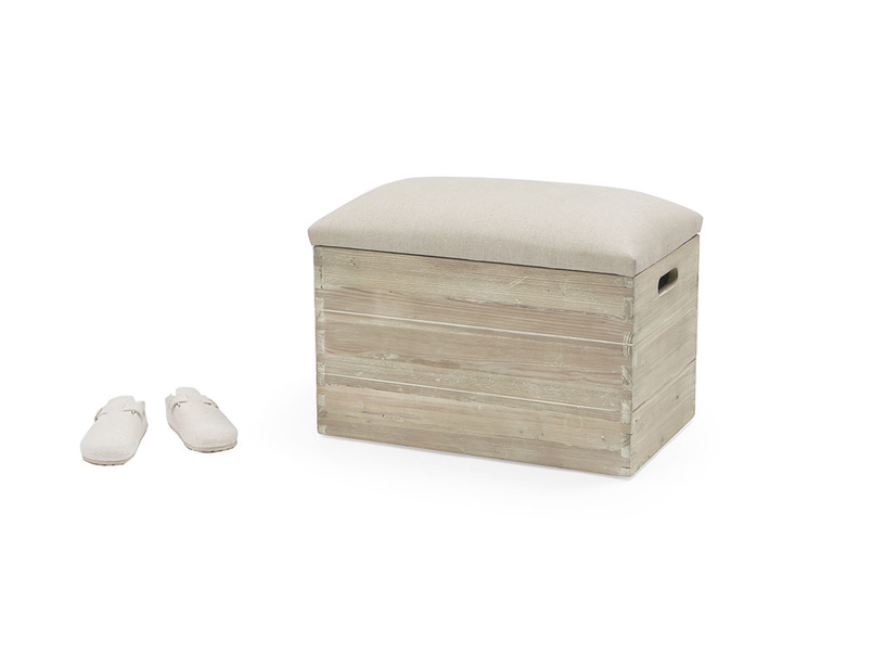 Lugger wooden and upholstered storage box