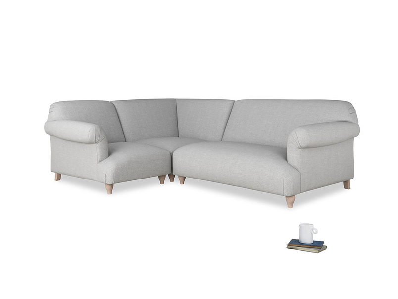 Large left hand Soufflé Modular Corner Sofa in Cobble house fabric with both arms