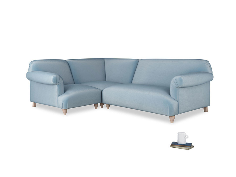 Large left hand Soufflé Modular Corner Sofa in Chalky blue vintage velvet with both arms