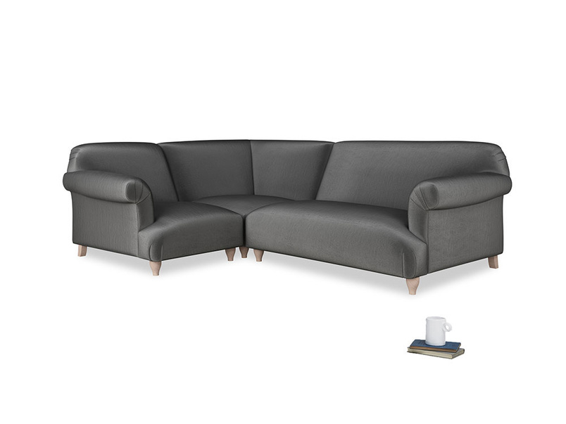 Large left hand Soufflé Modular Corner Sofa in Scuttle grey vintage velvet with both arms