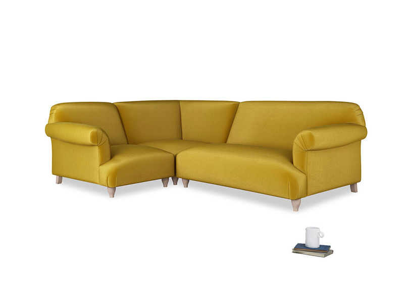 Large left hand Soufflé Modular Corner Sofa in Burnt yellow vintage velvet with both arms