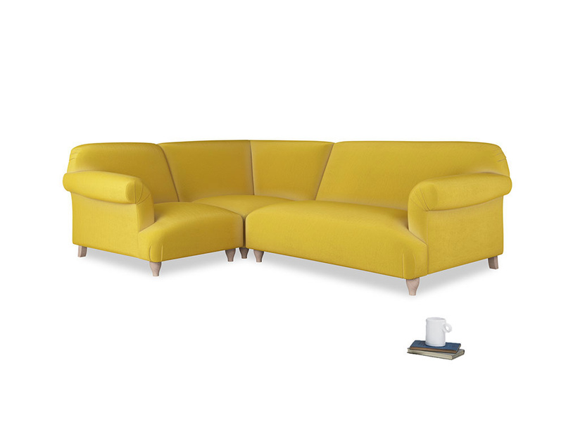 Large left hand Soufflé Modular Corner Sofa in Bumblebee clever velvet with both arms