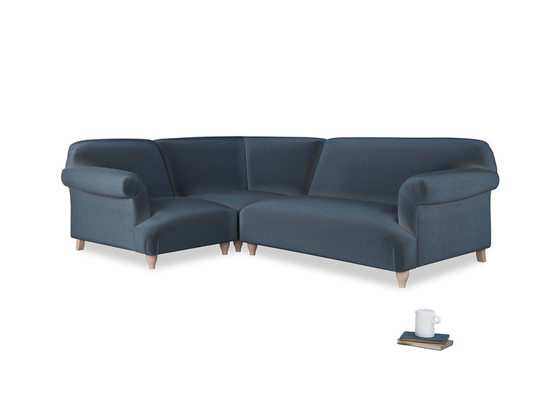 Large left hand Soufflé Modular Corner Sofa in Liquorice Blue clever velvet with both arms