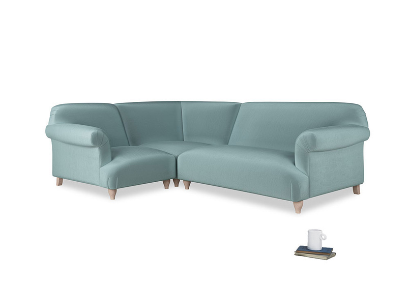 Large left hand Soufflé Modular Corner Sofa in Lagoon clever velvet with both arms