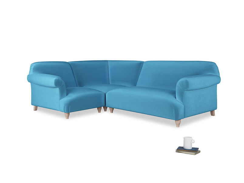 Large left hand Soufflé Modular Corner Sofa in Teal Blue plush velvet with both arms