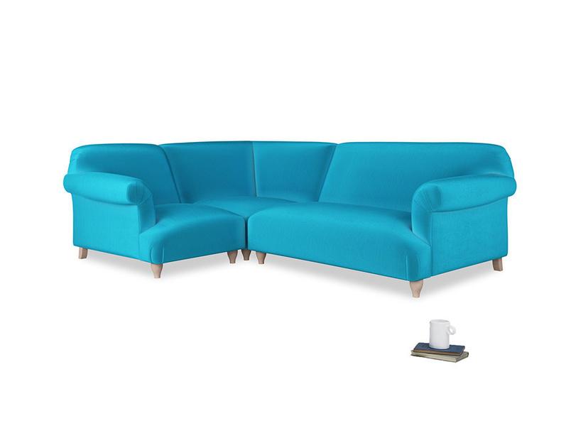 Large left hand Soufflé Modular Corner Sofa in Azure plush velvet with both arms