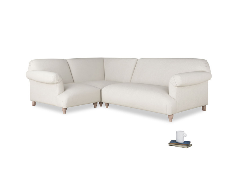 Large left hand Soufflé Modular Corner Sofa in Oyster white clever linen with both arms