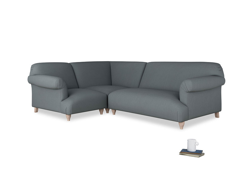 Large left hand Soufflé Modular Corner Sofa in Meteor grey clever linen with both arms
