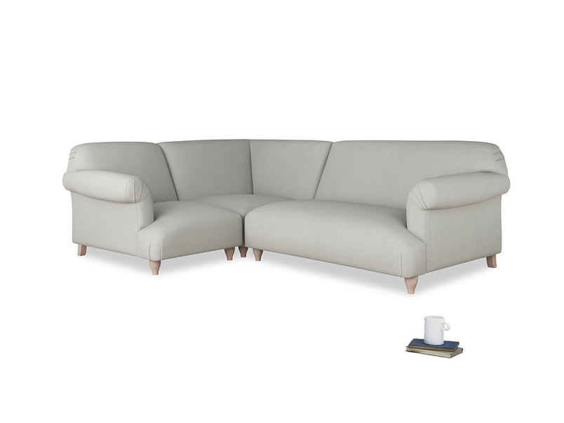 Large left hand Soufflé Modular Corner Sofa in Mineral grey clever linen with both arms