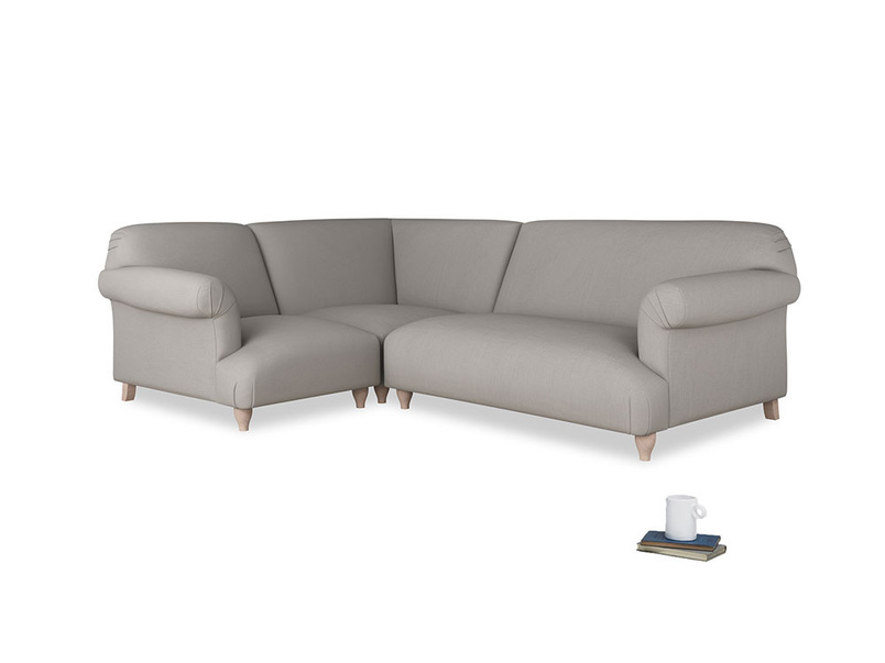 Large left hand Soufflé Modular Corner Sofa in Safe grey clever linen with both arms